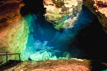 Blue Well, cave with blue lagoon in the Chapada Diamantina, Brazil