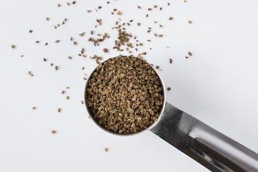 Celery seeds in a measuring spoon.