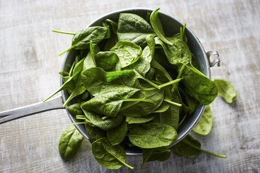 Fresh spinach leaves in colander on wood