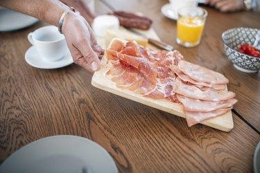 Potassium phosphate deli meat charcuterie board