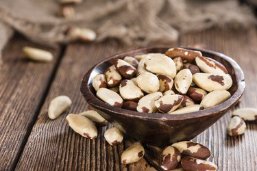 Raw selenium-rich Brazil Nuts in bowl