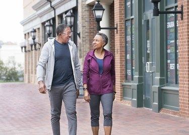 Senior couple walking for exercise