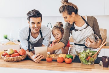 Family learning how to meal plan for different diets