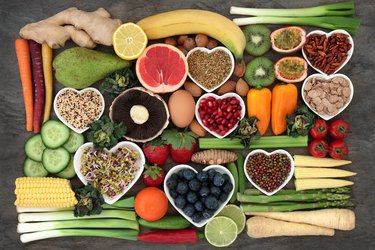 Top view of a variety of healthy food