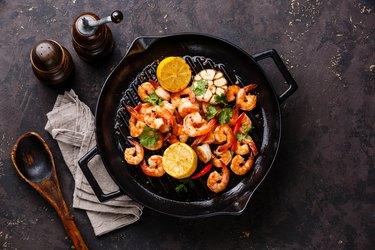 Prawns roasted on frying pan