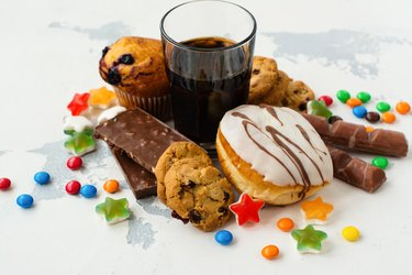 Assortment of products with high sugar level