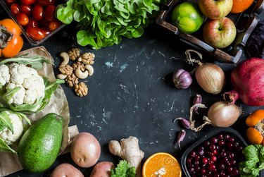 Healthy food background. Assortment of fresh vegetables and fruits