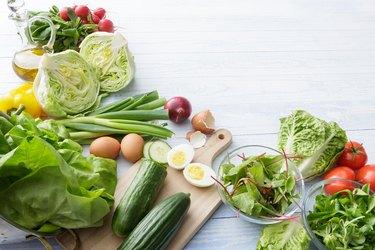 Salads Ingredients romaine and iceberg lettuce