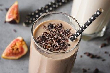 Chocolate milkshake closeup view