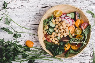 Healthy vegan bowl plant based meal with saponin-rich chickpeas