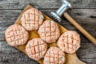 Raw meatballs pork meat, cooking concept, homemade