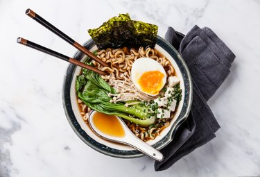 Miso Ramen noodles with egg, enoki and pak choi