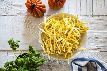 Preparing tagliatelle pasta