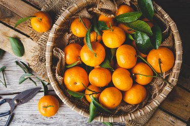 Directly Above View Of Oranges In Basket On Table