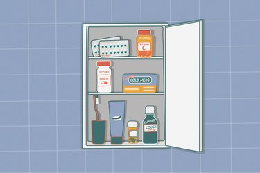 illustration of expired over-the-counter medications in medicine cabinet on blue tile bathroom wall