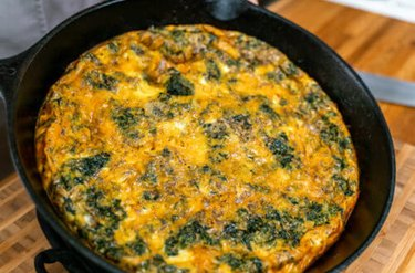 Healthy Egg Bake in castiron pan
