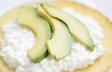 Avocado and cottage cheese on a tortilla