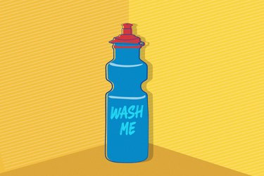 Illustration of a blue water bottle with words wash me on yellow background