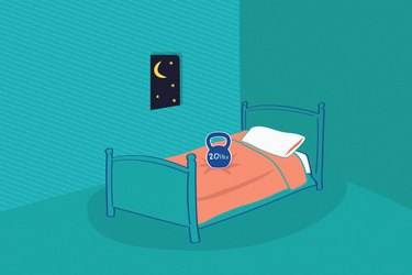 Illustration of a kettlebell on a bed at nighttime, representing the concept of working out before bed