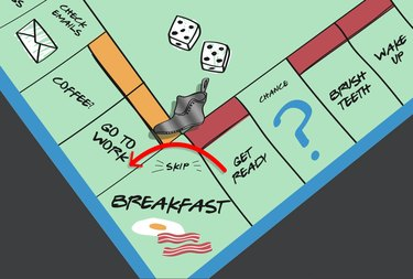 game board illustration of concept of skipping breakfast