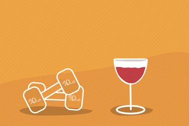illustration of glass of red wine and dumbbells with yellow background