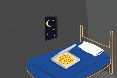 illustration of pizza box on bed with blue comforter in gray bedroom with window showing moon and stars