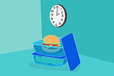illustration showing burger in glass container on countertop with clock overhead