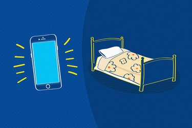 Illustration of smart phone next to bed depicting blue light before sleep