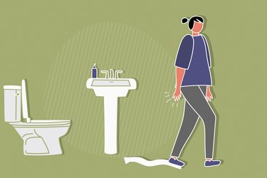 Illustration of a person walking away from the toilet, not washing their hands after using the bathroom