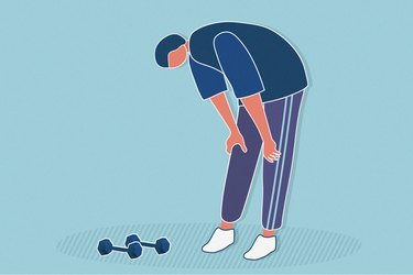 illustration of person leaning over with hands on knees feeling tired during high-intensity workout with dumbbells
