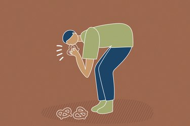 illustration showing person picking up a pretzel off the floor and eating it