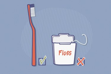 illustration of a toothbrush with a checkmark and a container of floss with an X depicting skipping flossing