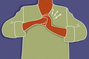 Illustration of a person in green shirt cracking their knuckles with purple background