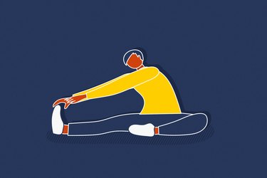 illustration of person in yellow top on navy background stretching to cool down after a workout