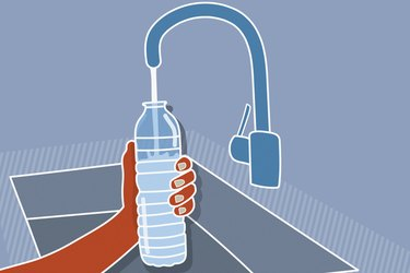 Illustration of a person refilling a plastic water bottle