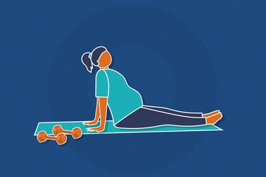 Illustration of a pregnant person resting during workout on mat with dumbbells