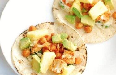 Vegan BBQ Cauliflower and Chickpea Tacos