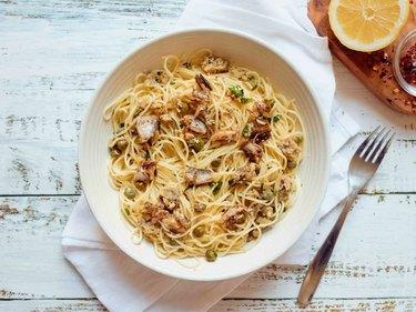 Mediterranean Sardine Pasta with Lemon, Capers and Chili Flakes sardines recipes