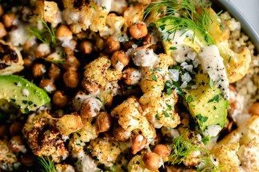 Cauliflower Salad and Roasted Chickpeas and Quinoa