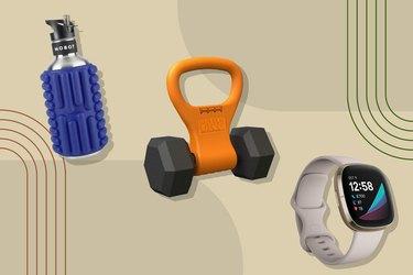 Mobot Big Bertha 40 oz Foam Roller Water Bottle, Kettle Gryp and Fitbit Sense