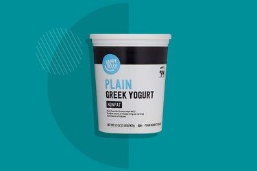 A photo of Happy Belly Plain Nonfat Greek Yogurt