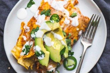 Spicy Black Bean Chicken Enchiladas with Pumpkin Sour Cream Sauce recipe