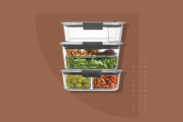 Three Rubbermaid containers stacked vertically