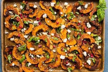 Baked Spicy Delicata Squash Salad with Feta