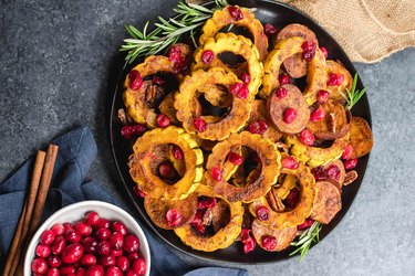 Roasted Delicata Squash, Sweet Potato and Cranberry