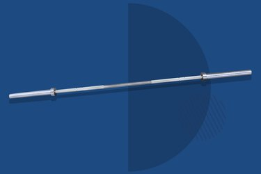 silver Rogue Olympic weight-lifting bar on blue background