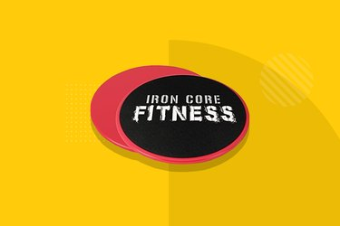 black and red Iron core fitness sliders on yellow bckground