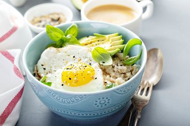 Savory Oatmeal in blue bowl on table