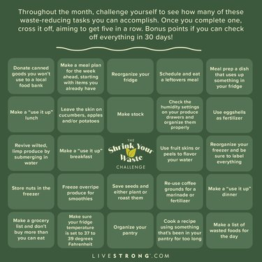 Shrink Your Waste Challenge bingo card to reduce food waste