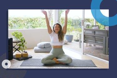 photo of yoga instructor Hailey Lott doing 15-minute beginner yoga workout